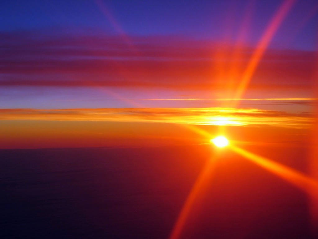 Sunset from a plane, returning from Peru
